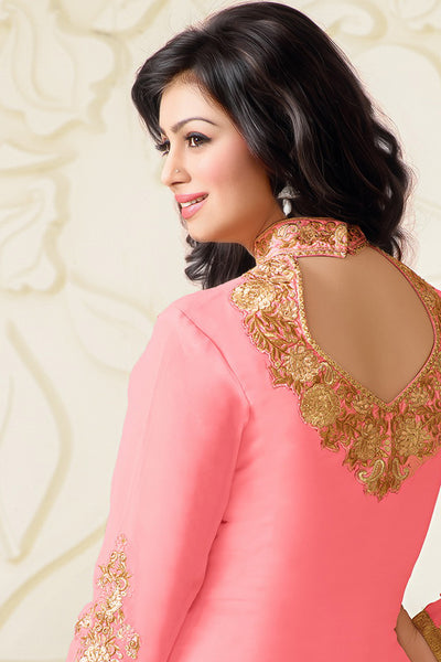 Designer Straight Cut:atisundar divine Baby Pink Designer Embroidered Straight Cut - 10602 - atisundar - 2 - click to zoom