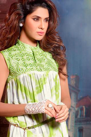 Designer Tops:atisundar splendid Faux Georgette Designer Tops in Green And White - 9357