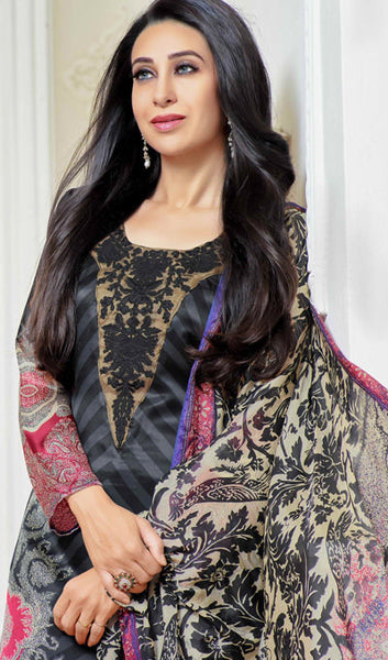 The Karishma Kapoor Collection:atisundar admirable Black And Grey Designer Straight Cut  - 9862 - atisundar - 3 - click to zoom