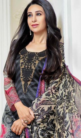The Karishma Kapoor Collection:atisundar admirable Black And Grey Designer Straight Cut  - 9862 - atisundar - 3