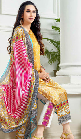 The Karishma Kapoor Collection:atisundar Great Yellow Designer Straight Cut  - 9863 - atisundar - 3