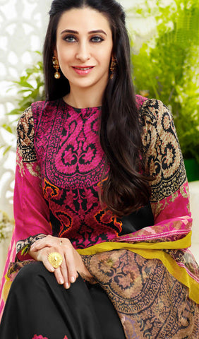 The Karishma Kapoor Collection:atisundar elegant Black And Pink Designer Straight Cut  - 9866 - atisundar - 3 - click to zoom