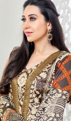 The Karishma Kapoor Collection:atisundar charming Brown And Creame Designer Straight Cut  - 9869 - atisundar - 3