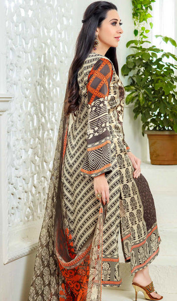 The Karishma Kapoor Collection:atisundar charming Brown And Creame Designer Straight Cut  - 9869 - click to zoom