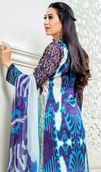 The Karishma Kapoor Collection:atisundar splendid Blue And Purple Designer Straight Cut  - 9870 - click to zoom
