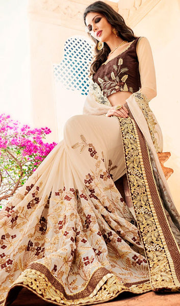 Designer Party Wear Saree:atisundar dazzling Embroidered Partywear Saree with Embroidered Blouse in Beige  - 10353 - click to zoom