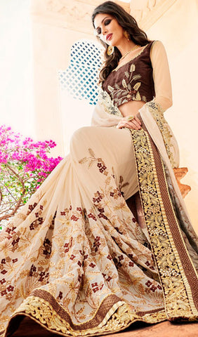Designer Party Wear Saree:atisundar dazzling Embroidered Partywear Saree with Embroidered Blouse in Beige  - 10353 - atisundar - 2 - click to zoom