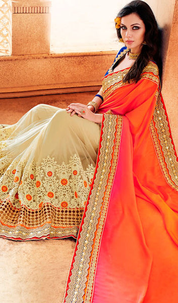 Designer Party Wear Saree:atisundar Great Embroidered Partywear Saree with Embroidered Blouse in Orange  - 10354 - atisundar - 2 - click to zoom