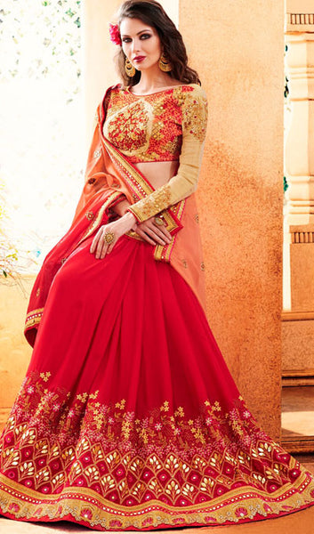 Designer Party Wear Saree:atisundar ravishing Embroidered Partywear Saree with Embroidered Blouse in Red  - 10355 - click to zoom