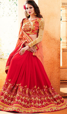 Designer Party Wear Saree:atisundar ravishing Embroidered Partywear Saree with Embroidered Blouse in Red  - 10355 - atisundar - 2 - click to zoom