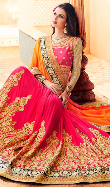 Designer Party Wear Saree:atisundar beauteous Embroidered Partywear Saree with Embroidered Blouse in Orange  - 10360 - atisundar - 2 - click to zoom