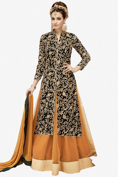 Designer Lehenga:atisundar admirable Embroidered Faux Georgette Designer Party Wear Lehenga in Black - 14189 - click to zoom