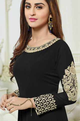 Designer Anarkali:atisundar Awesome Black Designer Party Wear Anarkali - 14195