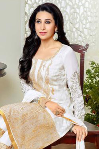 Designer Straight Cut Suits:atisundar wonderful White Designer Embroidered Straight Cut Suits In Faux Georgette - 9425
