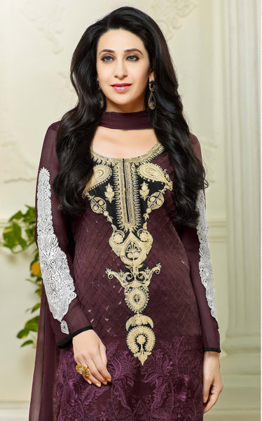 Designer Straight Cut Suits:atisundar enticing Purple Designer Embroidered Straight Cut Suits In Faux Georgette - 9427 - atisundar - 3 - click to zoom