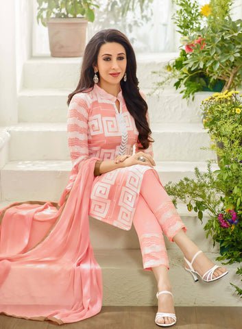 Designer Straight Cut Suits:atisundar pretty Pink Designer Embroidered Straight Cut Suits In Faux Georgette - 9428 - atisundar - 3