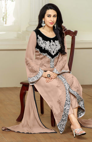 Designer Straight Cut Suits:atisundar graceful Beige Designer Embroidered Straight Cut Suits In Faux Georgette - 9434 - atisundar - 3 - click to zoom