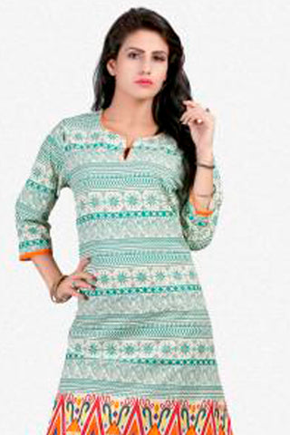 Designer Tops:atisundar Awesome Cotton Designer Tops in Off White And Green - 8254