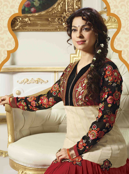 Juhi Chawla Anarkalis:atisundar   classy Bollywood Ankle Length Designer Anarkali in Cream And Red And Black  - 4468 - atisundar - 4 - click to zoom