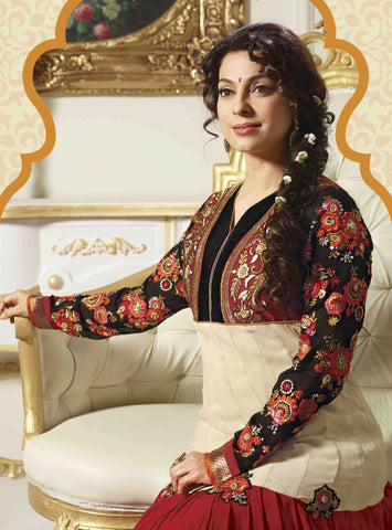 Juhi Chawla Anarkalis:atisundar   classy Bollywood Ankle Length Designer Anarkali in Cream And Red And Black  - 4468 - atisundar - 4