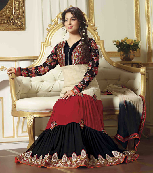 Juhi Chawla Anarkalis:atisundar   classy Bollywood Ankle Length Designer Anarkali in Cream And Red And Black  - 4468 - atisundar - 3 - click to zoom