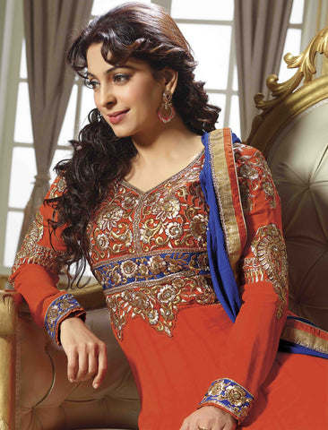 Juhi Chawla Anarkalis:atisundar   graceful Bollywood Ankle Length Designer Anarkali in Orange And Blue  - 4469 - atisundar - 3