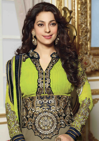 Juhi Chawla Anarkalis:atisundar   magnificent Bollywood Ankle Length Designer Anarkali in Green  - 4470 - atisundar - 4