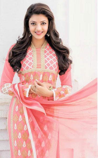 The Kajal Agrawal Collection:atisundar elegant Pink Designer Party Wear Straight Cut Suits In Faux Georgette - 9581 - atisundar - 3 - click to zoom