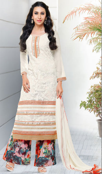 The Karishma Kapoor Collection:atisundar superb White Embroidered Chain Stitch Lakhnavi Work Straight Cut Suit In Net And Faux Georgette With Printed Bottom - 10041 - click to zoom