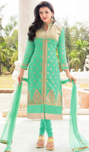 The Kajal Agrawal Collection:atisundar refined Green Designer Party Wear Straight Cut Suits In Faux Georgette - 9582 - atisundar - 1 - click to zoom