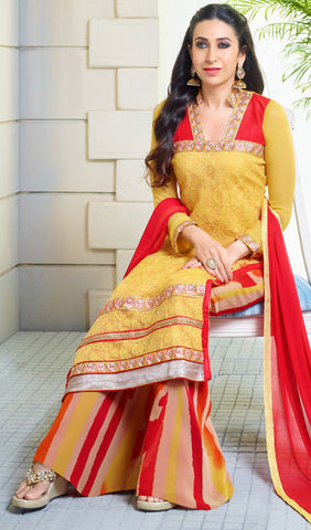 The Karishma Kapoor Collection:atisundar superb Yellow And Red Embroidered Chain Stitch Lakhnavi Work Straight Cut Suit In Net And Faux Georgette With Printed Bottom - 10043 - atisundar - 3
