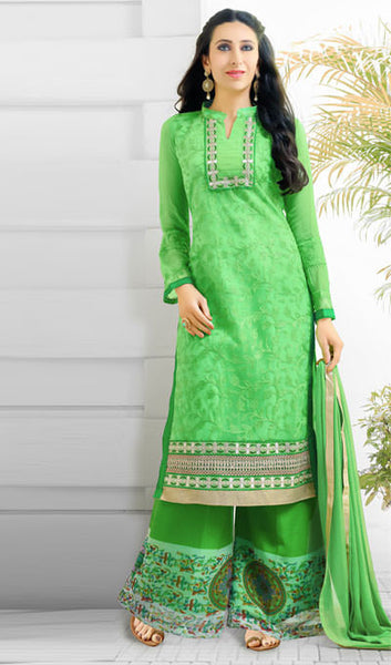 The Karishma Kapoor Collection:atisundar fascinating Parrot Green  Embroidered Chain Stitch Lakhnavi Work Straight Cut Suit In Net And Faux Georgette With Printed Bottom - 10045 - click to zoom