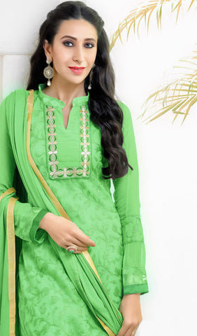 The Karishma Kapoor Collection:atisundar fascinating Parrot Green  Embroidered Chain Stitch Lakhnavi Work Straight Cut Suit In Net And Faux Georgette With Printed Bottom - 10045 - atisundar - 4 - click to zoom