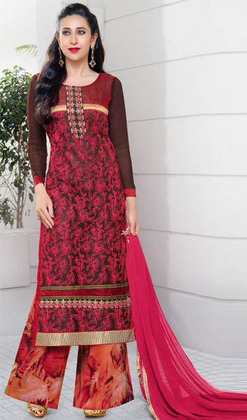 The Karishma Kapoor Collection:atisundar delightful Brown And Pink Embroidered Chain Stitch Lakhnavi Work Straight Cut Suit In Net And Faux Georgette With Printed Bottom - 10046 - click to zoom