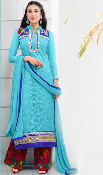 The Karishma Kapoor Collection:atisundar classy Sky Blue Embroidered Chain Stitch Lakhnavi Work Straight Cut Suit In Net And Faux Georgette With Printed Bottom - 10047 - atisundar - 2 - click to zoom