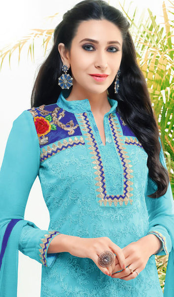 The Karishma Kapoor Collection:atisundar classy Sky Blue Embroidered Chain Stitch Lakhnavi Work Straight Cut Suit In Net And Faux Georgette With Printed Bottom - 10047 - atisundar - 4 - click to zoom
