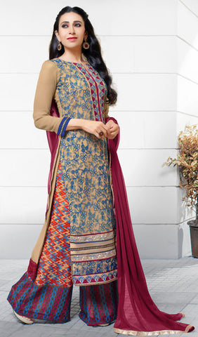The Karishma Kapoor Collection:atisundar exquisite Beige And Blue Embroidered Chain Stitch Lakhnavi Work Straight Cut Suit In Net And Faux Georgette With Printed Bottom - 10048 - atisundar - 3