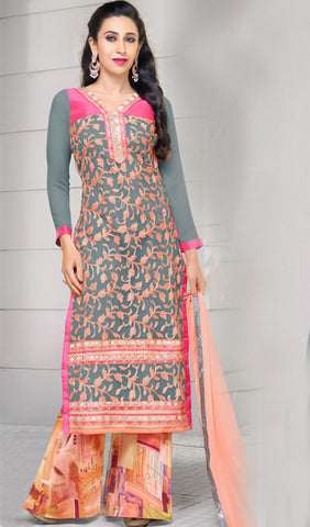 The Karishma Kapoor Collection:atisundar stunning Grey And Peach Embroidered Chain Stitch Lakhnavi Work Straight Cut Suit In Net And Faux Georgette With Printed Bottom - 10049 - atisundar - 2 - click to zoom