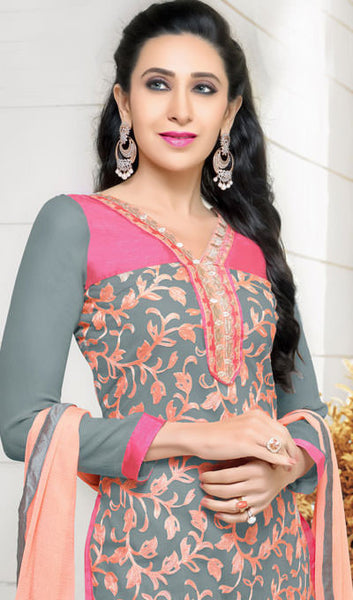 The Karishma Kapoor Collection:atisundar stunning Grey And Peach Embroidered Chain Stitch Lakhnavi Work Straight Cut Suit In Net And Faux Georgette With Printed Bottom - 10049 - atisundar - 4 - click to zoom