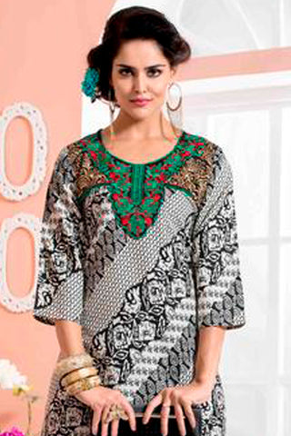 Designer tops:atisundar enticing Rayon Designer Printed Tops in Green - 6933
