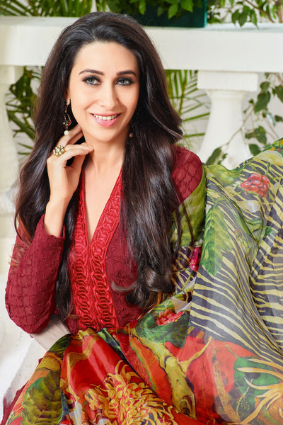 The Karishma Kapoor Collection:atisundar divine Red Designer Embroidered Straight Cut Suit In Faux Georgette Featuring Karishma Kapoor  - 10150 - click to zoom