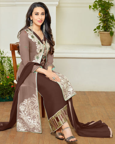 The Karishma Kapoor Collection:atisundar Awesome Brown Designer Embroidered Straight Cut Suit In Faux Georgette Featuring Karishma Kapoor  - 10154 - atisundar - 2