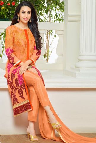The Karishma Kapoor Collection:atisundar stunning Orange Designer Embroidered Straight Cut Suit In Faux Georgette Featuring Karishma Kapoor  - 10156 - atisundar - 2