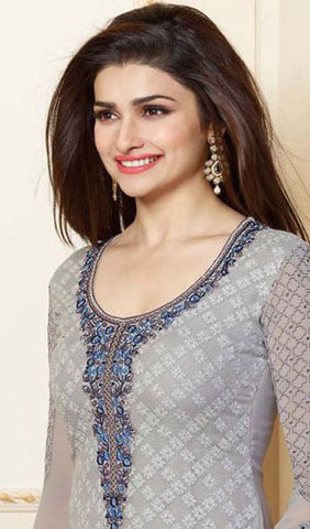 The Prachi Desai Collection:atisundar Attractive Grey Designer Embroidered Straight Cut Suits In Faux Georgette - 9754 - atisundar - 2 - click to zoom