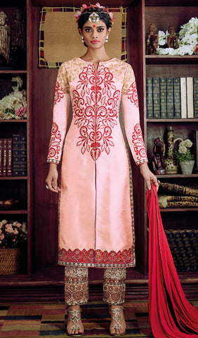 Desiner Stright cut:atisundar fascinating Pink Designer Straight Cut  - 8661 - atisundar - 1 - click to zoom