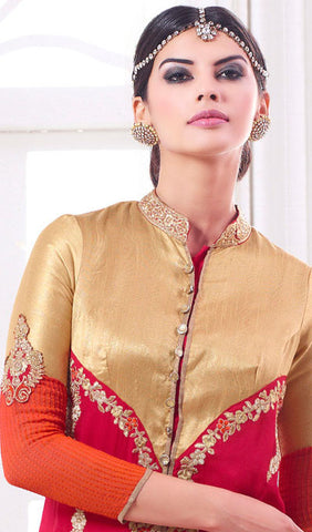 Designer Embroidered Suit:atisundar Lovely Pink And Orange Designer Embroidered Suits - 8689 - atisundar - 5