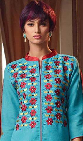 Designer Tops:atisundar Attractive Poly Linen Designer Tops in Sky Blue - 9188 - atisundar - 3 - click to zoom