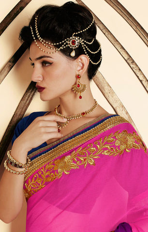 Designer Embroidered Saree:atisundar bewitching Designer Embroidery Saree in Pink  - 8600 - atisundar - 3
