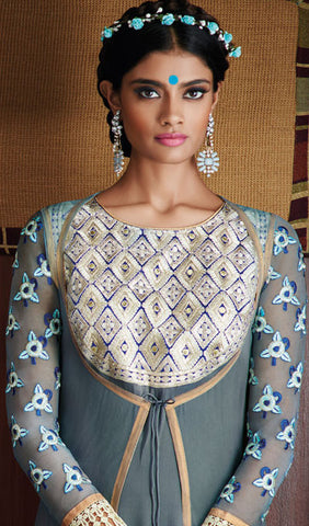Designer Stright cut: atisundar admirable Grey Designer Straight Cut  - 8662 - atisundar - 5 - click to zoom