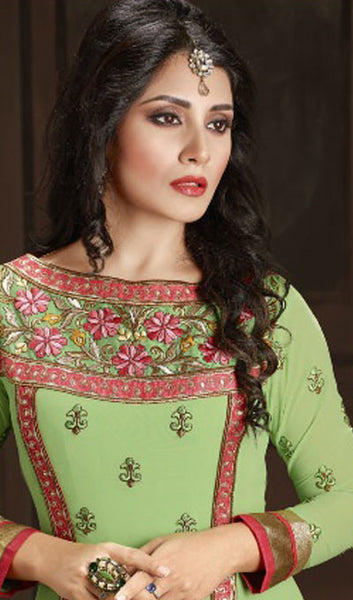 The Rimi Sen Collection:atisundar Charismatic Green Designer Embroidered Anarkali - 8919 - atisundar - 3 - click to zoom